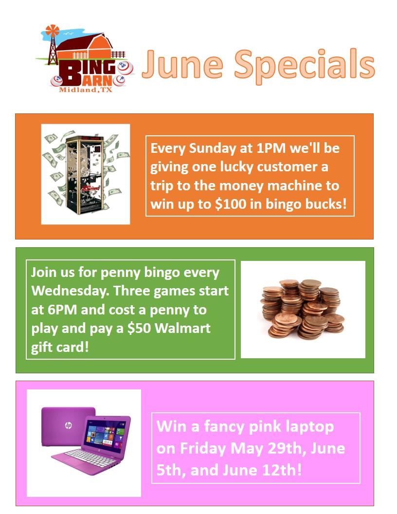 Bingo Barn June Specials Flyer