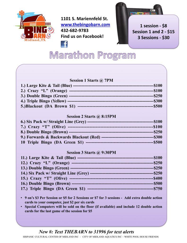 Bingo Barn Program Friday Marathon 7-20-16